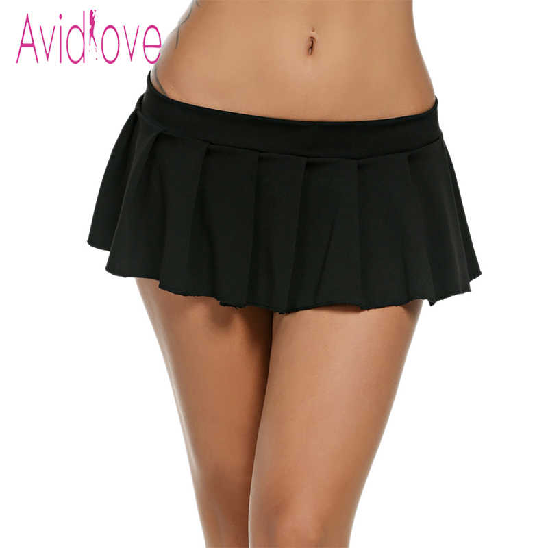 78c7370098 Avidlove Women Sexy Mini Skirts Casual Schoolgirl Sleepwear Micro Skirt Sexy  Summer Short Skirts Black White