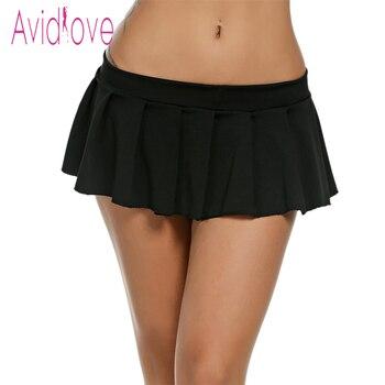 7af2f8678f Avidlove mujeres Sexy Mini faldas Casual colegiala ropa de dormir Micro  falda Sexy verano faldas cortas negro blanco rosa azul más tamaño