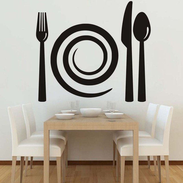 Spiral Plate And Cutlery Wall Decal Black Pattern Removable Vinyl Sticker Art Dining
