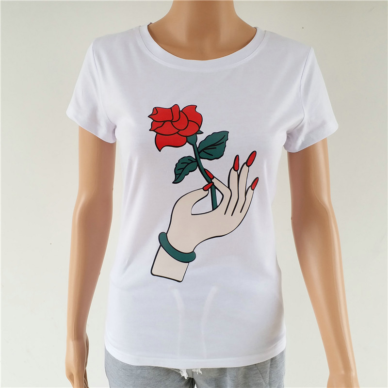 High quality t shirt women top fashion hand take flower 3d for Best quality shirts to print on
