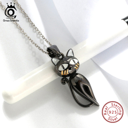 ORSA JEWELS Real 925 Sterling Silver Pendant Original Design Cute Cat Black Gun Enamel Craft Women Necklaces Gift Jewelry SN99