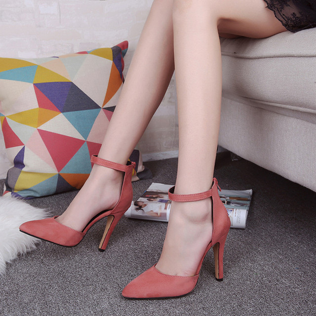 Shoes Woman 2017 High Heels Female Fine With Sexy Buckle Women Shoes 34-39  zapatos mujer chaussure femme talon schuhe damen
