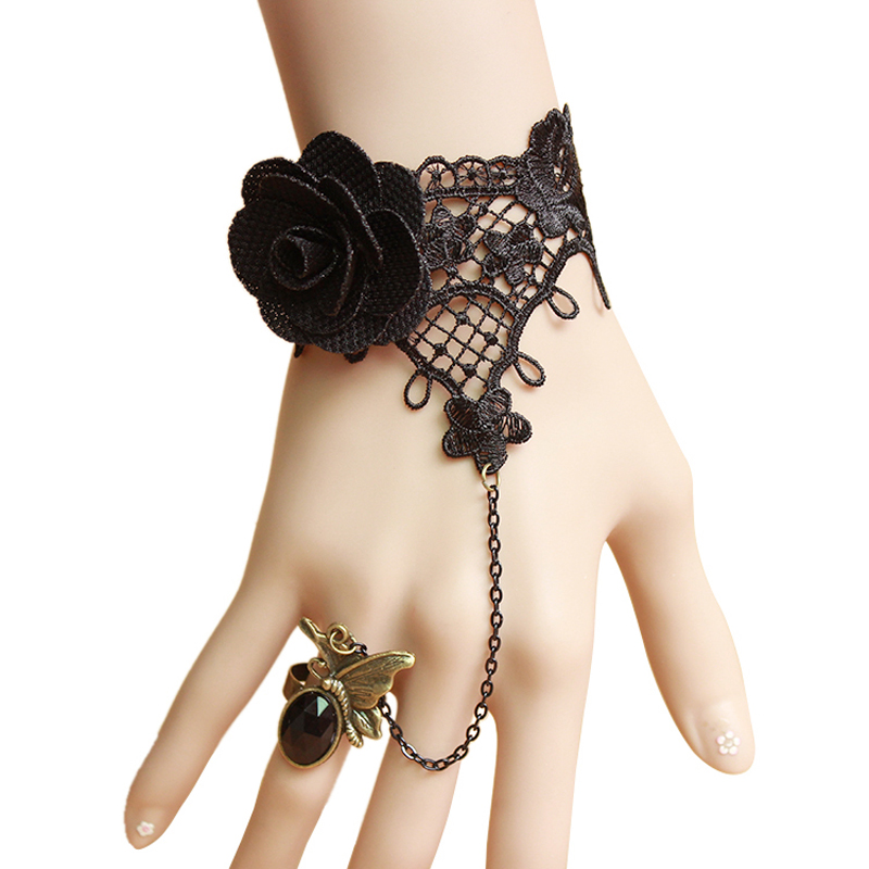 Black Flower Lace Jewelry Sets Fashion Wrist Bracelet With Butterfly Ring Attached Gifts For Ladies Teacher Sister Jewellery