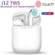 Новые i12 TWS мини беспроводные наушники Bluetooth 5,0 bass Наушники с сенсорным управлением спортивные музыкальные гарнитуры PK i10 i13 i20 tws