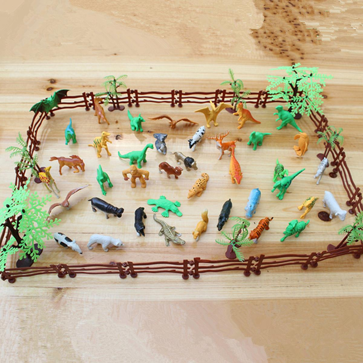 68PCS/set Plastic Farm Yard Wild Fence Tree Animals Model Kids Toys Figures Play Set Toys For Children Kids Adult easyway zoo mini wild animals action figures set figurines kids toys for children wildlife toys simulation animal model toy bear