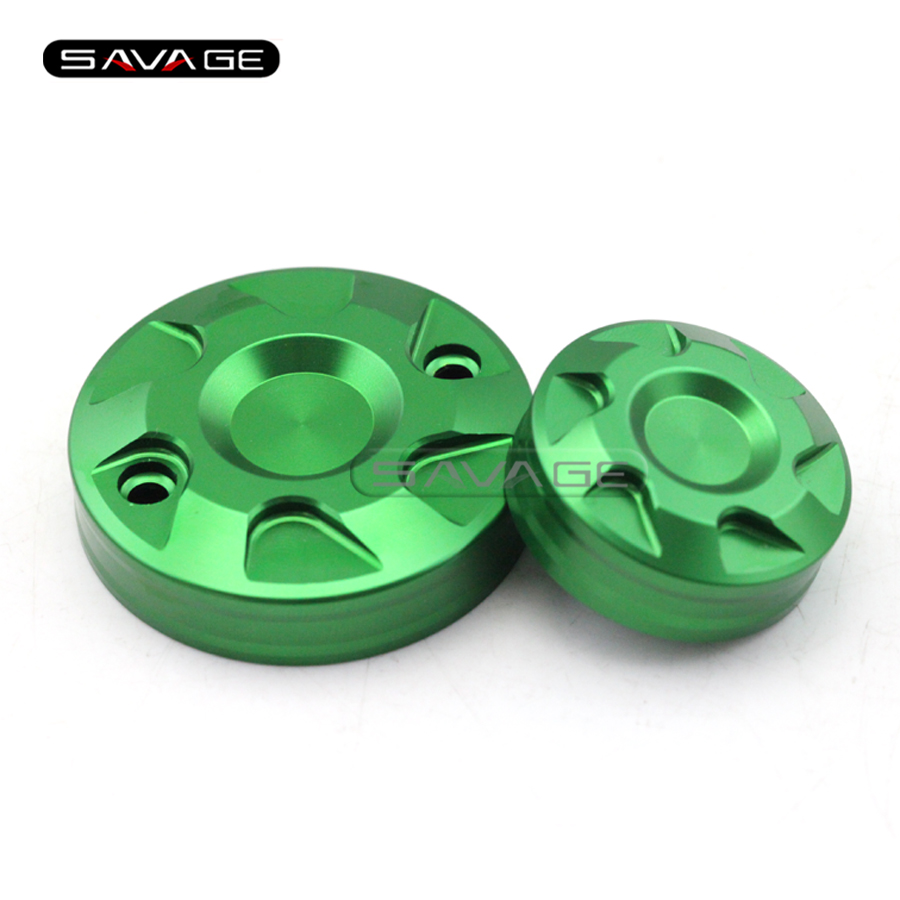 ФОТО For KAWASAKI ZX-10R ZX10R NINJA 2016 Motorcycle CNC Front Rear Brake Master Cylinder Reservoir Cover Cap