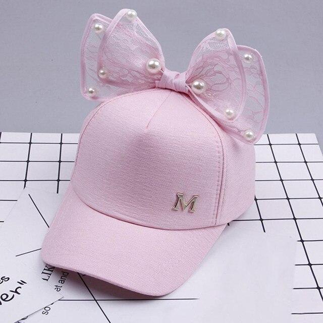 2018 הגעה חדשה אביב בנות כובעי פרל תחרה Bowknot כובע ילדים בנות מתוק חמוד נסיכת סגנון כובעי קיץ שמש מכירה לוהטת כובע