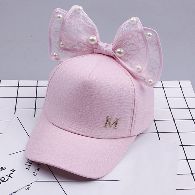 2018 New Arrival Spring Girls Caps Pearl Lace Bowknot Hat Kids Girls Sweet cute Princess Style Caps Summer Sun hot sale Hat