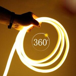 Image 1 - Rotondo HA CONDOTTO LA Luce di Striscia Flessibile 220V SMD2835 tubo flessione Al Neon del LED 120 leds/m IP66 Impermeabile stringa di corda lampada Adattatore di Alimentazione UE