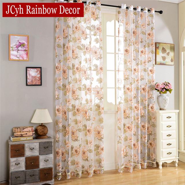 Floral Sheer Cortinas para sala dormitorio moderno tulle Cortinas ...