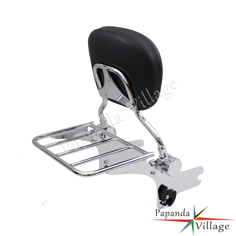 Papanda Chrome Motorcycle Adjustable Rear Passenger Sissy Bar Luggage Rack Backrest Pad for Harley Touring FLHT FLHX FLTR in Covers Ornamental Mouldings from Automobiles Motorcycles