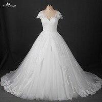 Suknie ślubne 2016 Rękawy Cap Lace Vintage Księżniczka Bridal Suknie Ślubne Z Kokardą I Wstążka Powrót RSW839