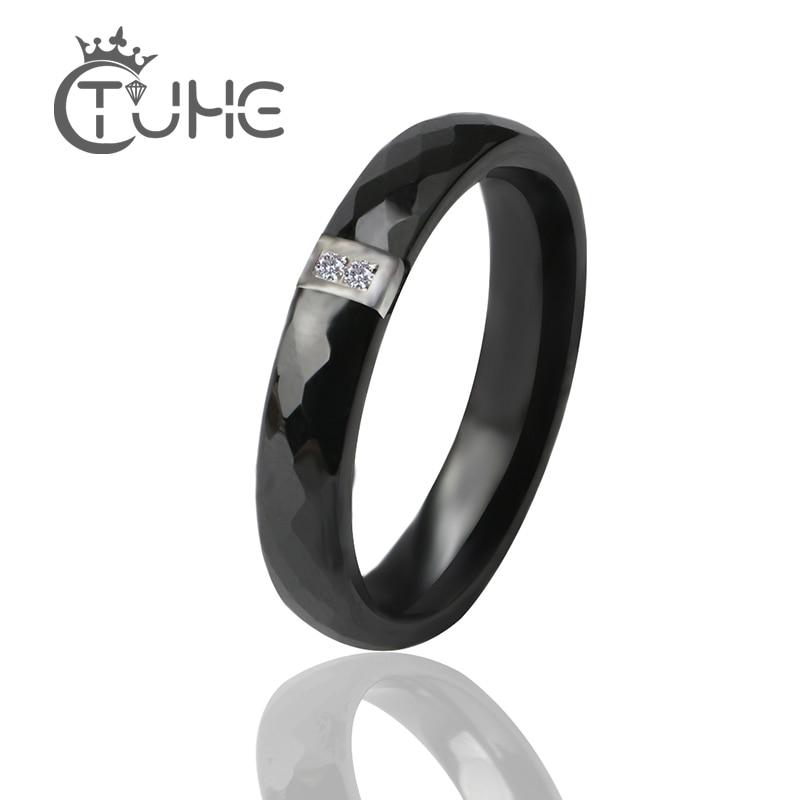 Anillos únicos mujeres 3 mm negro blanco anillo de cerámica para las mujeres India piedra cristal Comfort anillos de boda marca de compromiso