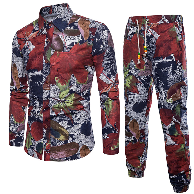 Shirt +Pants Mens Shirts Big Sizes Camisa Slim Fit Masculina Printed Shirt Men Men Dress Shirt Long Sleeve Cotton M-5XL