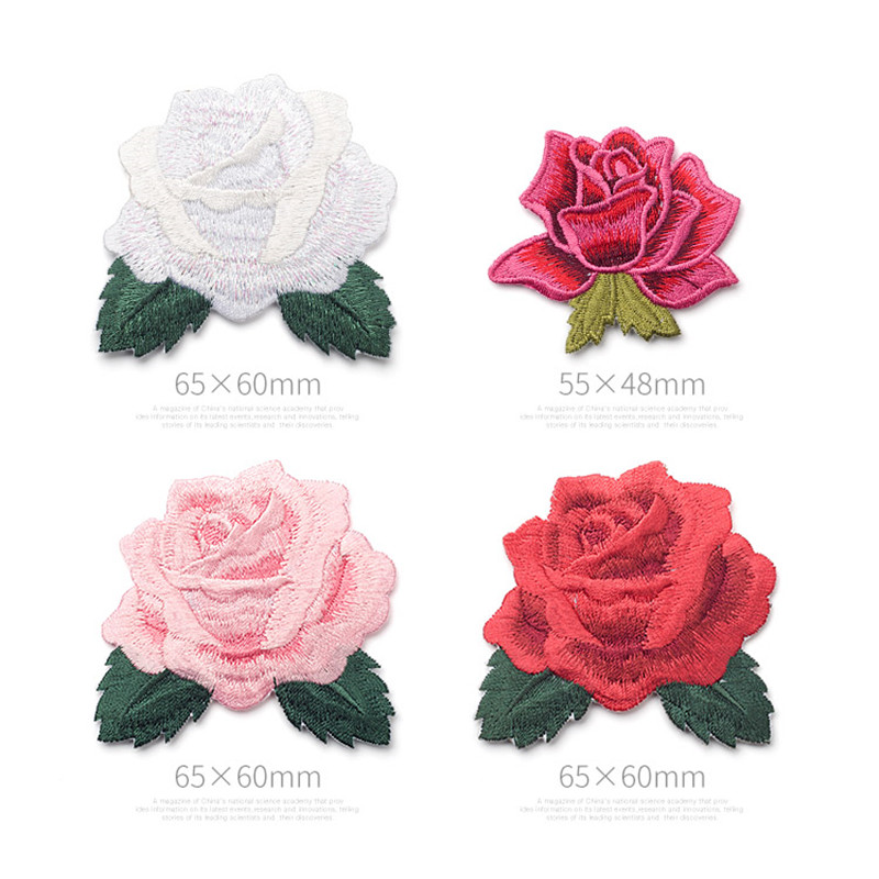 PINK WHITE ROSE FLOWER Embroidered Sew Iron On Cloth Patch Badge APPLIQUE