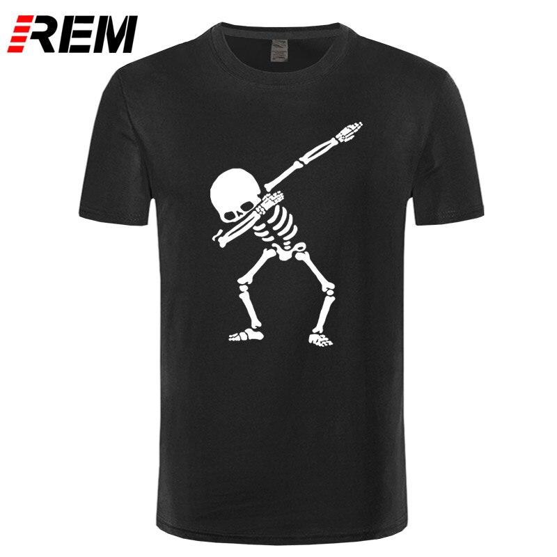 REM Hip Hop Dabbing Skeleton Mens T-Shirt Punk Black Shirts Men Funny Skull T Shirts