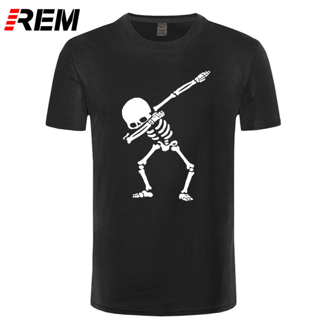 75097738e2 REM Hip Hop Dabbing Skeleton Mens T-Shirt Punk Black Shirts Men Funny Skull  T Shirts