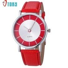 OTOKY Willby женские модные ретро часы с красным циферблатом кожаные Аналоговые кварцевые наручные часы 161213 Прямая поставка