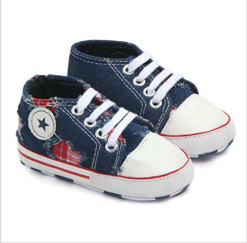 Denim Baby  Shoes My First Shoes Infant Casual Prewalker  Infant Shoes For 0-18 Month Babies  Baby Boy Shoes With Star Outsole