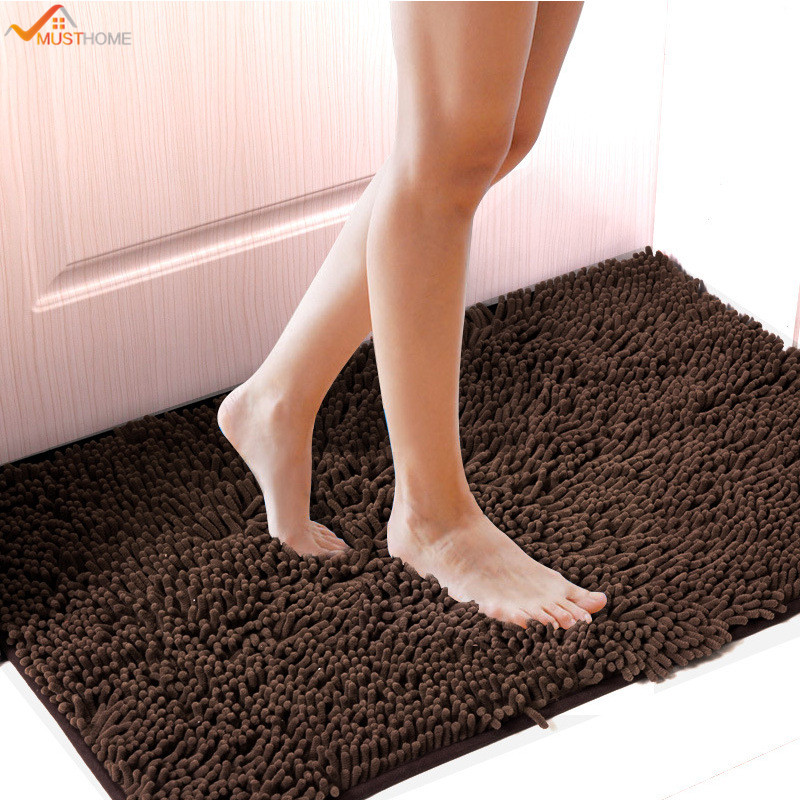 40*60CM Non slip Chenille Bathroom Bath Shower Rugs Mat Carpet Floor Plush Absorbent