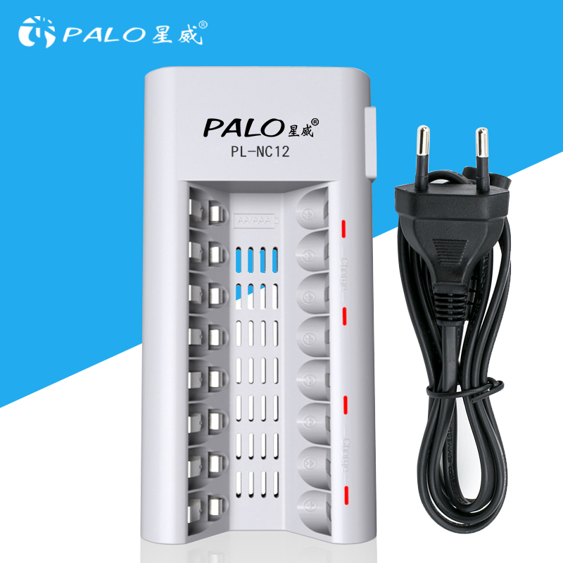 PALO AA batterycharger aa battery charger 8 slots charger for NI-MH NI-CD 1.2V AA/AAA rechargeable battery LED display charger palo 8 slots battery charger nc09 with indicator for aa aaa ni mh ni cd rechargeable battery 8pcs aa rechargeable batteries