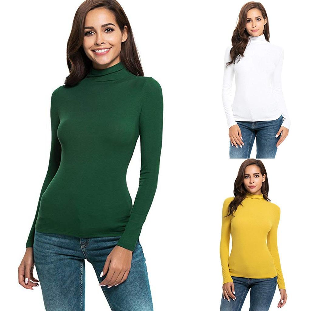 Women Cotton Shirt Long Sleeve Solid Slim Fit Turtleneck Top Blouse Korea Casual Ladies Shirt Slim Dropshipping