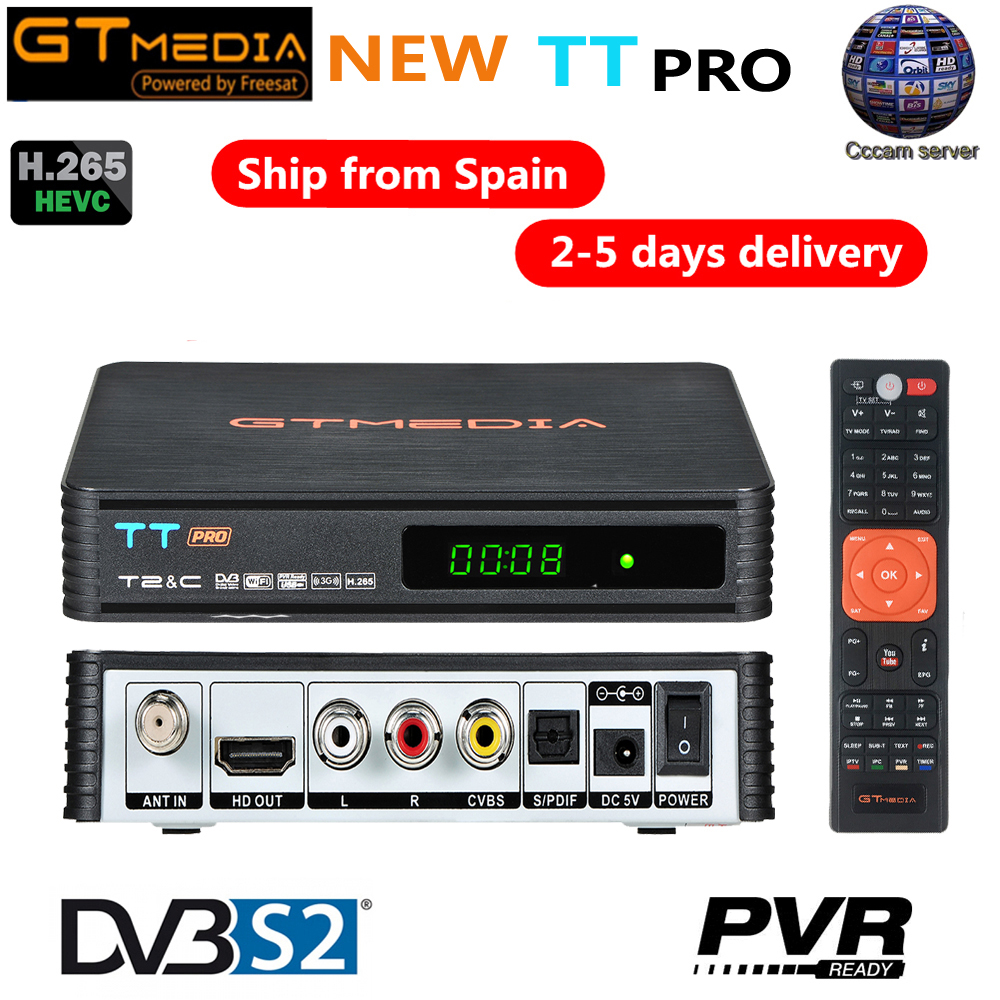GTMEDIA TT Pro DVB-T2 DVB-C Satellite TV Combo Receiver Support H.265 HD 1080P + 1 Year CCCAM for Spain Poland Germany Russian