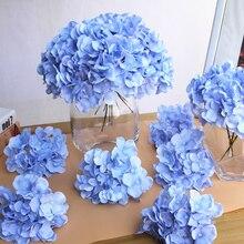 10 adet/grup renkli dekoratif çiçek kafa yapay ipek ortanca DIY ev partisi düğün kemer arka plan duvar dekoratif çiçek