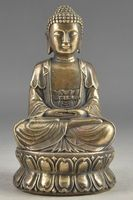 Hand Hammered Bless Collectable Chinese Brass Old Amulet Buddha Statue Garden Decoration 100% real Brass Bronze
