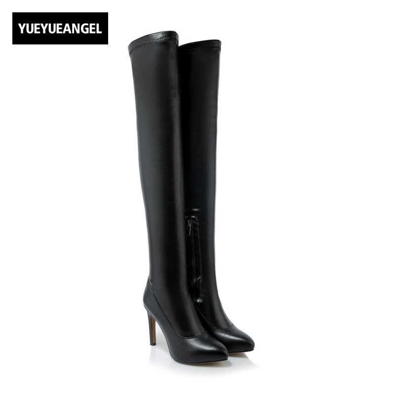 New Fashion Women Shoes Pointed Pointed Toe Side Zipper High Quality Pu Leather Femme Over The Knee Boots Sexy Nightclub Black new fashion women shoes pointed toe patent leather lady high heel boots for women sexy over the knee boots nightclub pumps