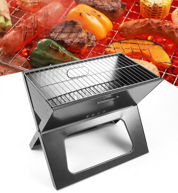 The new portable folding barbecue grill BBQ artifact camping stainless steel grill outdoor tools