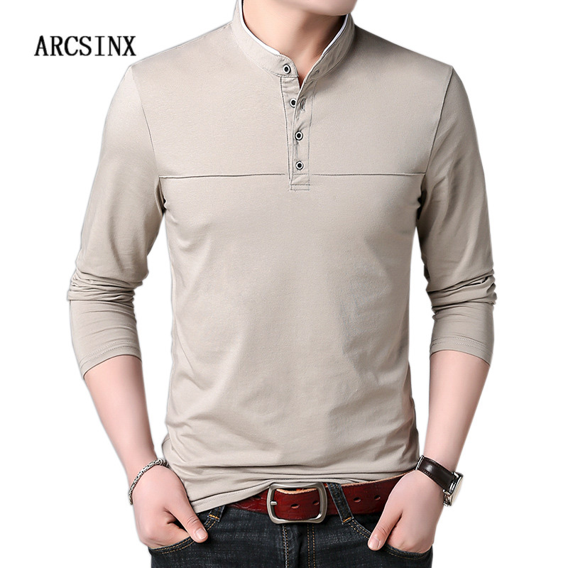 ARCSINX   Polo   Shirt Men Long Sleeve Cotton   Polo   Men Brand High Quality Casual Autumn Tee Shirt Men Winter England Style   Polos