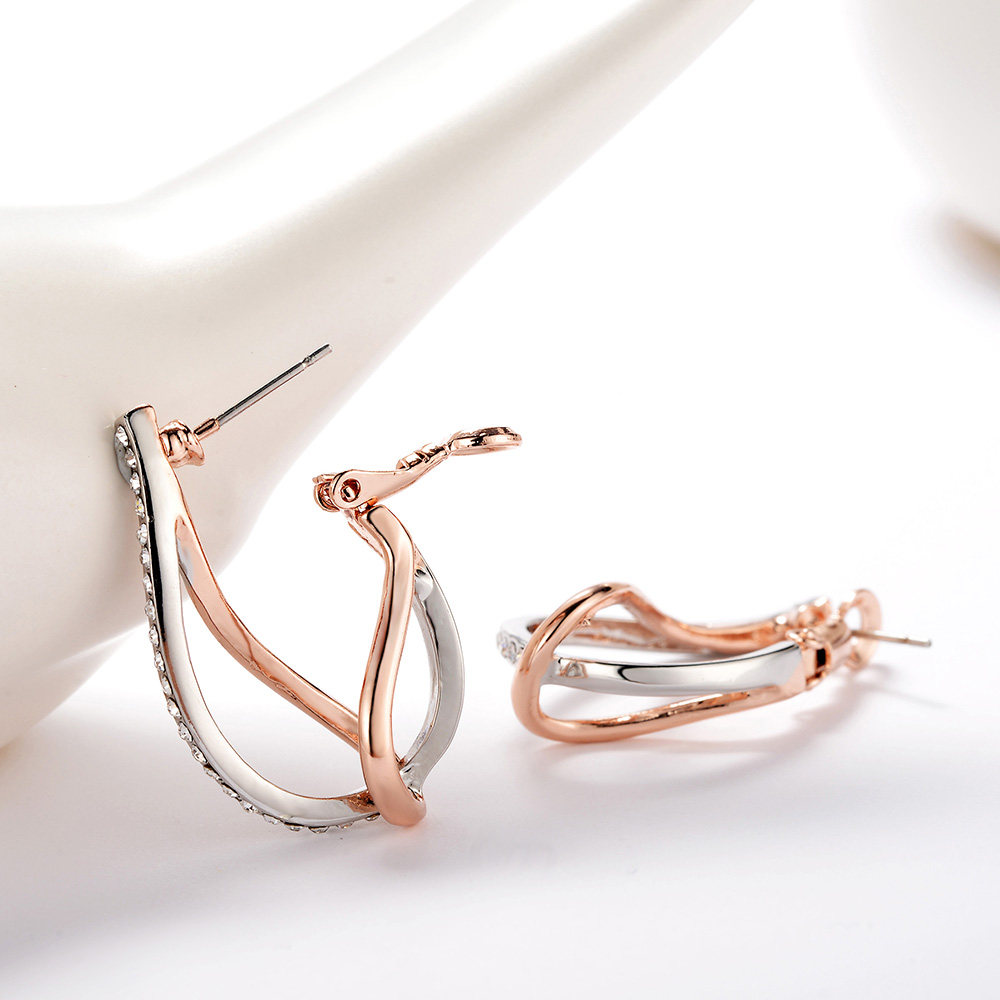 Viennois Geometric Hoop Earrings for Women Silver   Rose Gold Gold Color  Rhinestones Twisted Cross Earring Female Earrings-in Hoop Earrings from  Jewelry ... 3319c6b0eafc