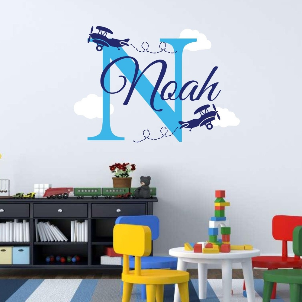 YOYOYU Wall Decal Name Personalized Vinyl Baby Name Wall Sticker Initial Airplane Boy Bedroom Art Wall Mural GY001