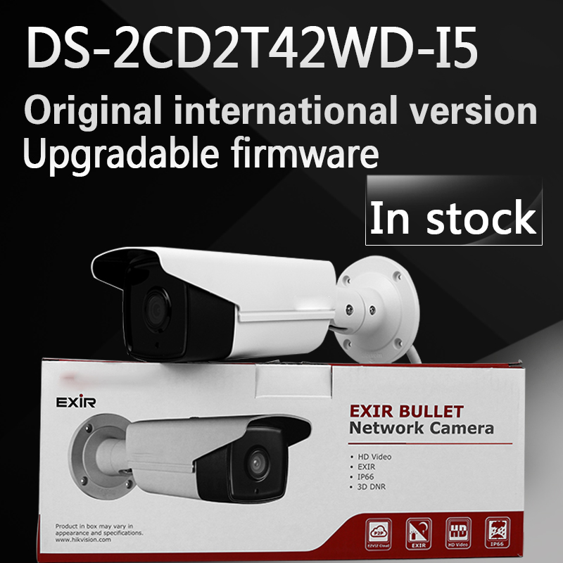 In stock  English Version IP Camera DS-2CD2T42WD-I5 4MP Multi Language IR Bullet Network IP Camera Support H.264+ WDR Function