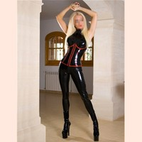 Latex Women Catsuit with Chest Zipper and Sleeve Short Zippers Zentai Sexy Jumpsuit Black Bodysuit For Women Plus Size Jumpsuit