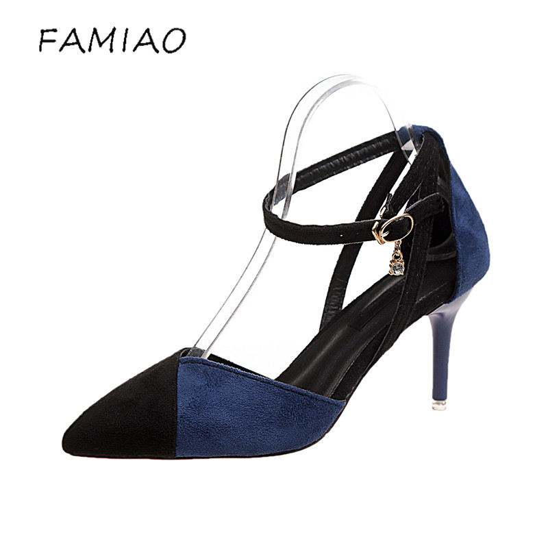 FAMIAO Wedding Shoes tenis feminino Side with 2018 Summer Women Shoes Pointed Toe Pumps Dress Shoes High Heels Boat Shoes