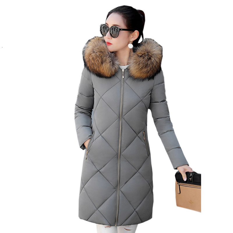 2018 New Women Winter Coat Thick warm Cotton Jacket Plus size 3XL Wadded Long Outerwear Hooded Long sleeve   Parkas   Female NW810