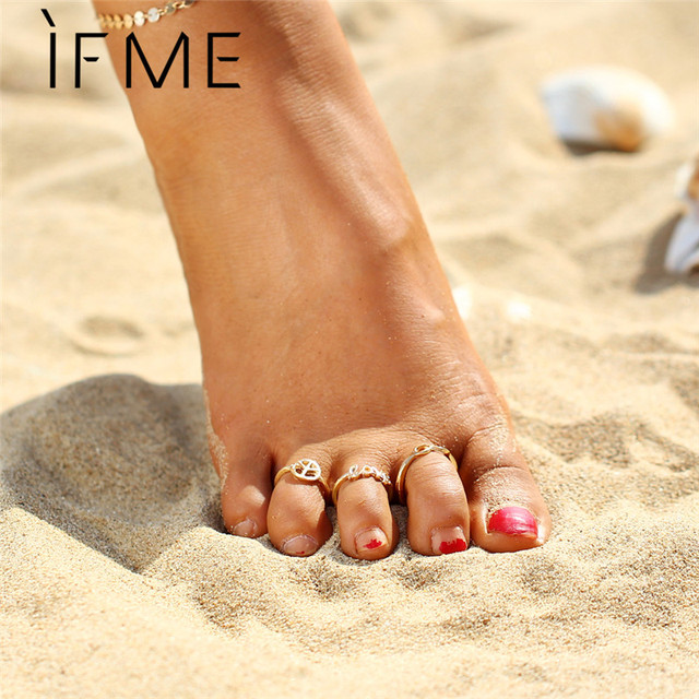 Vintage Toe Rings Infinity Peace Love Foot Rings Set Gold Silver Color Fashion Bohemia Summer Beach Rings Women Anillos