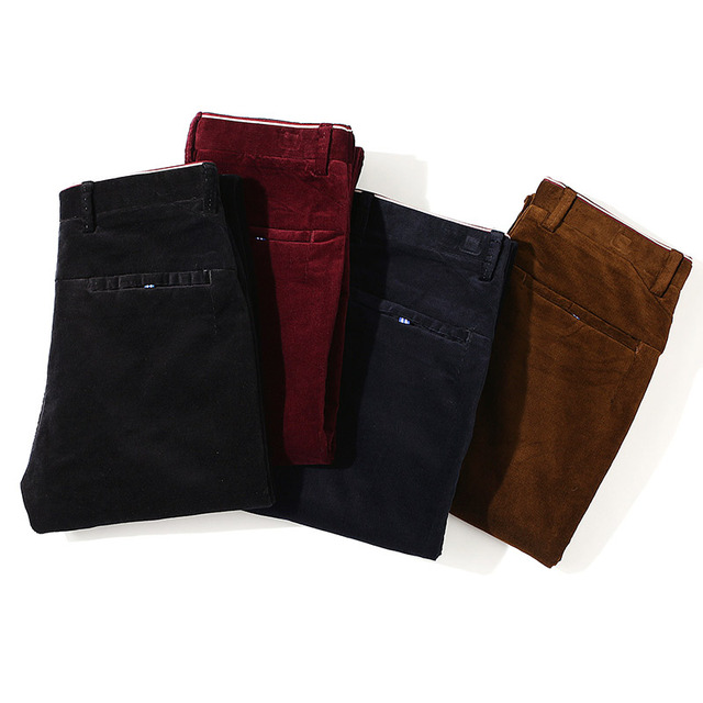 2018 New Brand Spring Winter Mens Corduroy Pants Business Casual Men Trousers Stretch Khaki Black Pants For Men High Quality 5