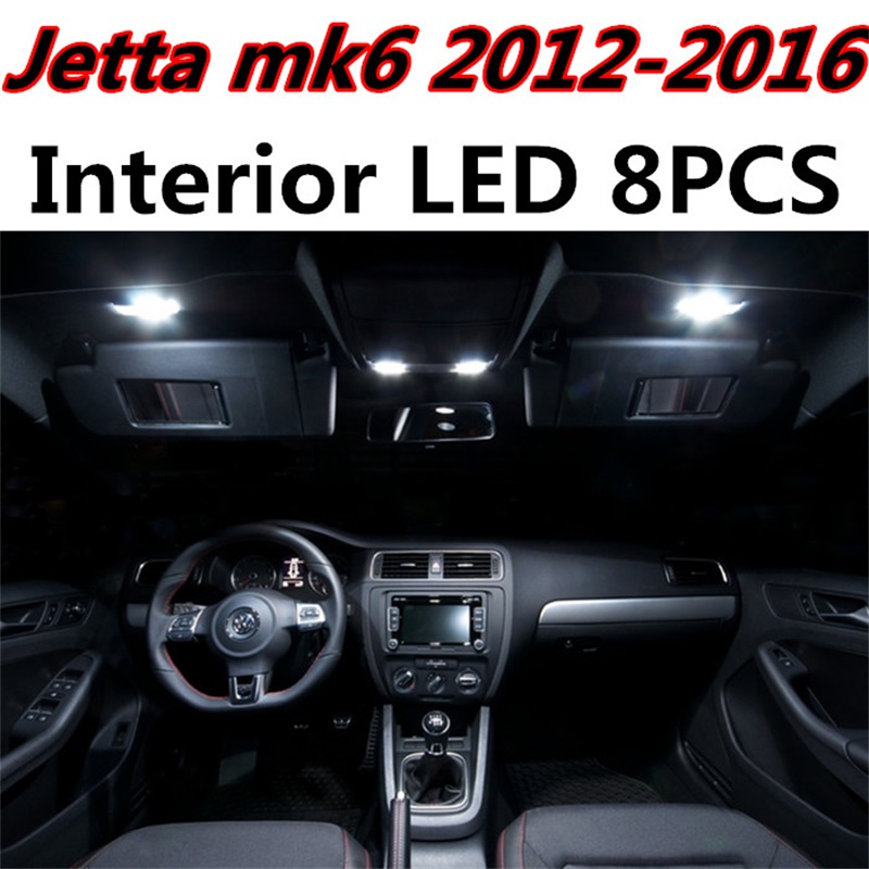 8pcs Error Free Auto LED Bulbs Car Interior Light Kit Reading Dome Truck Lamps For Volkswagen VW Jetta MK6 accessories 2012-2016 2pcs 12v 31mm 36mm 39mm 41mm canbus led auto festoon light error free interior doom lamp car styling for volvo bmw audi benz