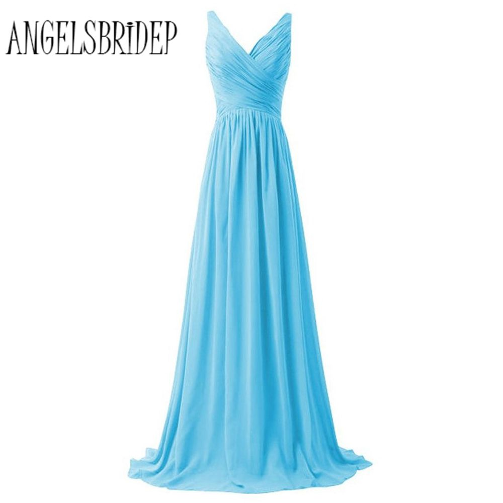 ANGELSBRIDEP Light Blue V Neck Prom Dresses A Line Chiffon Floor Length Women Party Dresses Evening Gowns Fast Shipping