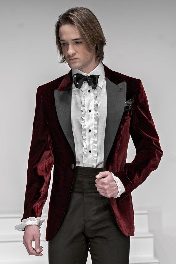 2017 Latest Coat Pant Designs Burgundy Velvet Peaked Lapel Wedding ...