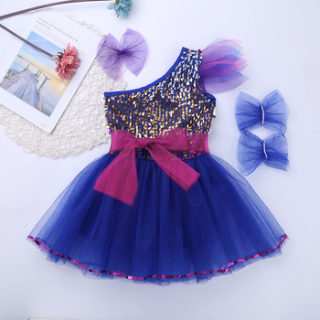 Kids Teens One-Shoulder Sequins Stage Performance Jazz Dance Costumes Set Girls Ballroom Ballet Tutu Mesh Dance Dress