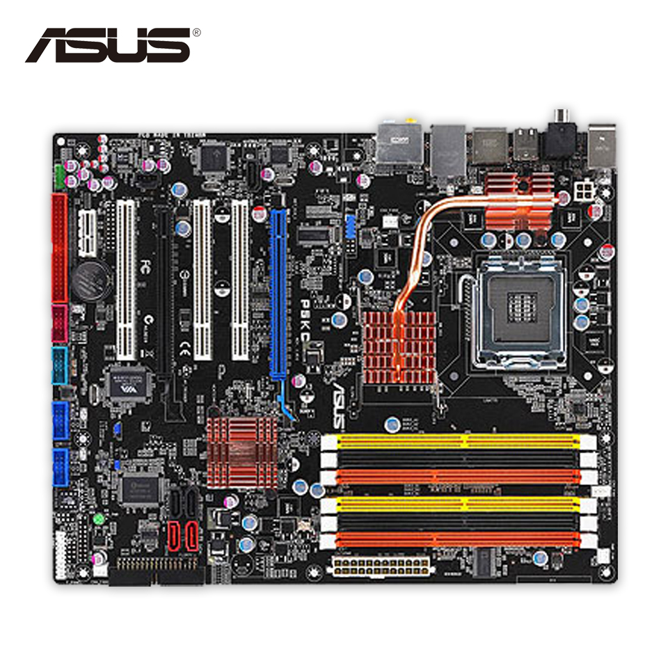 Original Used Asus P5KC Desktop Motherboard P35 Socket LGA 775 DDR3 SATA2 ATX 100% Fully Test intel g45 atx lga 775 ddr3 computer motherboard blue silver