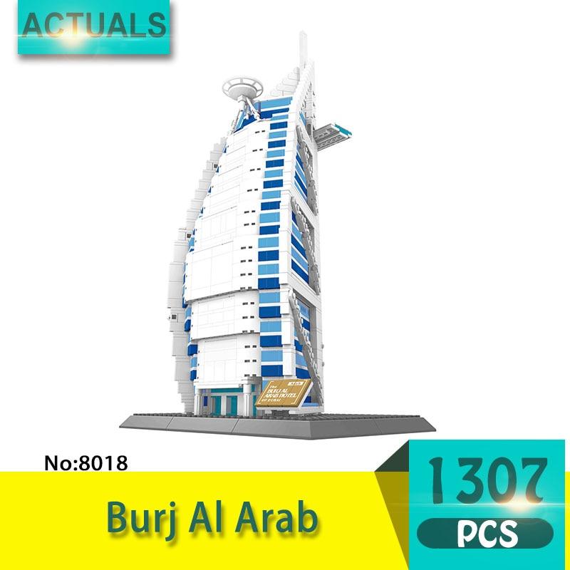 8018 1307Pcs Street View series Burj Al Arab Model Building Blocks Set Creative Bricks Toys For Children wange Gift promoting social change in the arab gulf