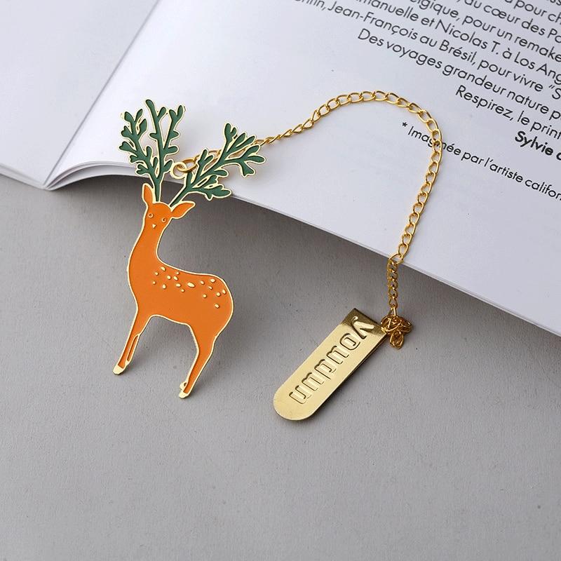 30pcs/lot Kawaii Creative Fashion Metal Longhorn Deer Pendant Bookmark School Learning Office Supplies Children's Birthday Gift-in Bookmark from Office & School Supplies
