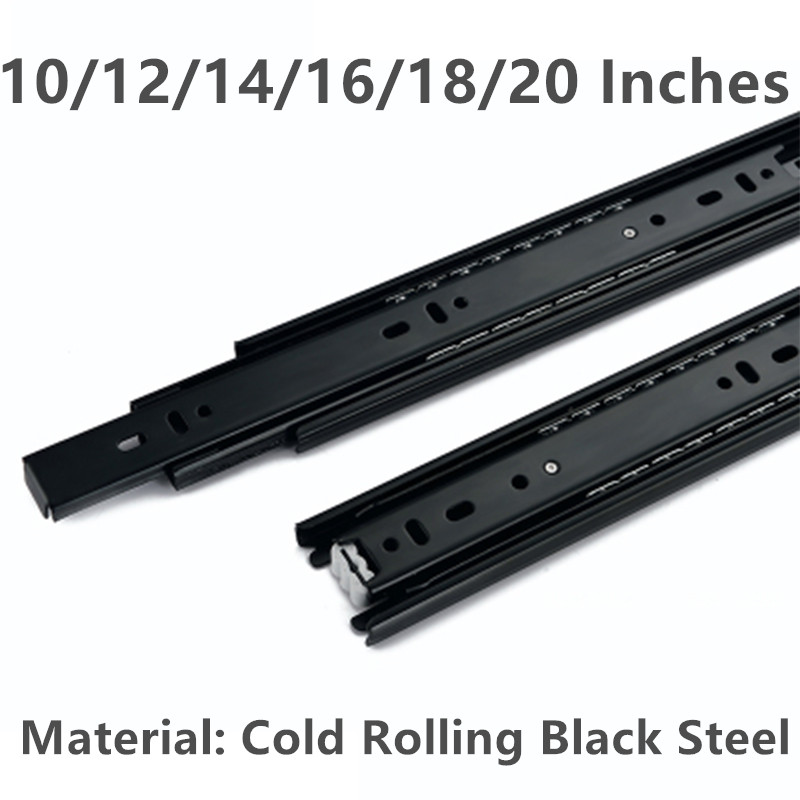 10/12/14/16/18/20 Inche Cold rolling black steel Drawer slide rail three section wardrobe ball slide rail track black hydraulic buffered rail track three drawer slide drawer slide ball bearing slide rail damping