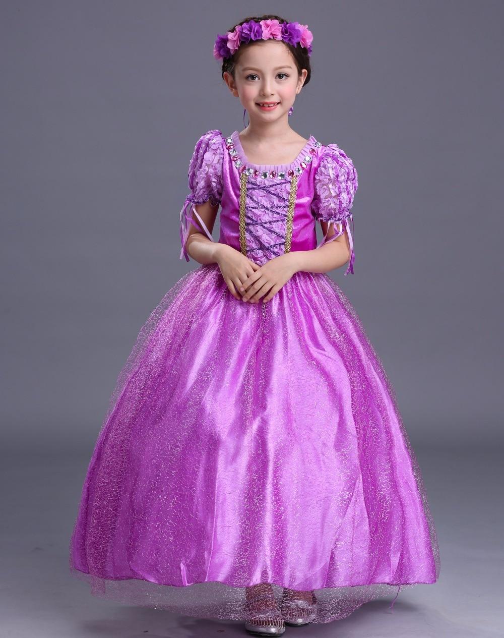 Moda de alta calidad de cristal adornado cuello princesa traje niñas ...