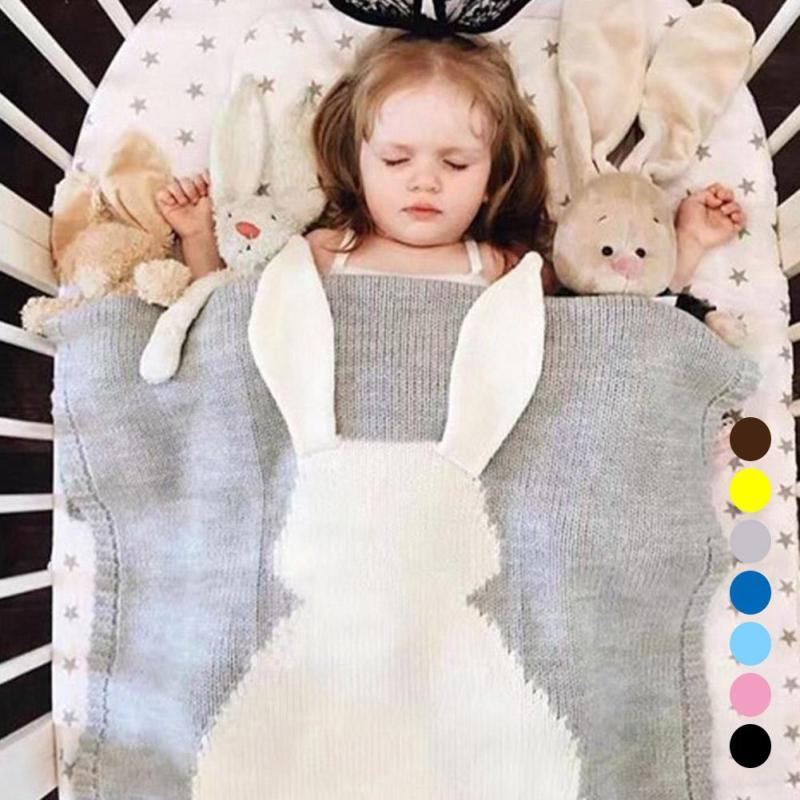 Baby Blanket Newborn Infant Bedding Bunny Pattern Knitted For Beds Crib Soft Wrap Swaddling